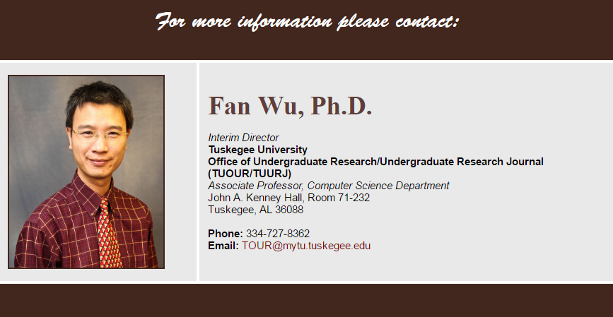 Picture and contact information for the Interim Director of TU-OUR
