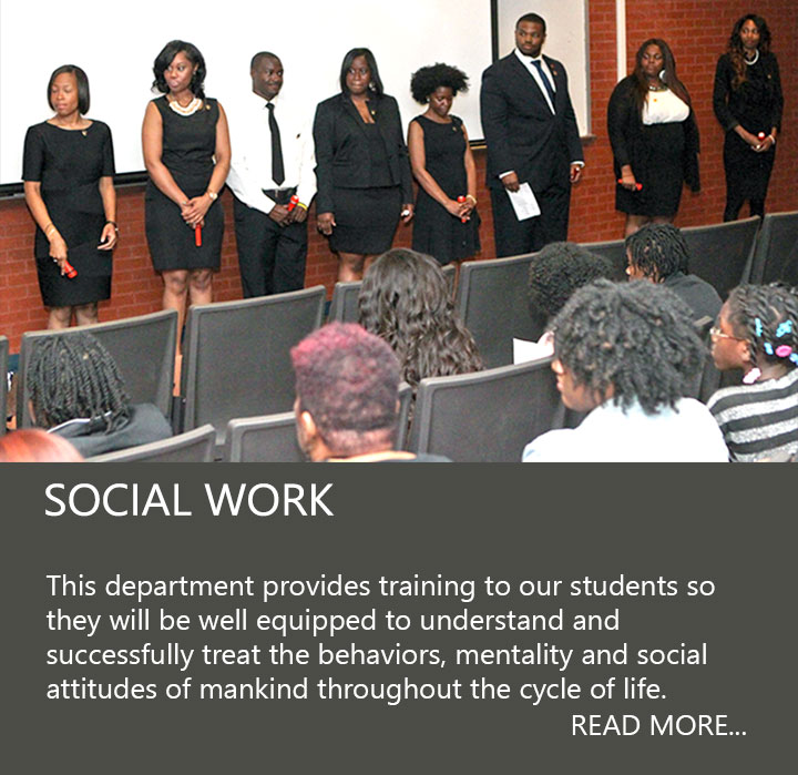 Social Work students standing during ceremony