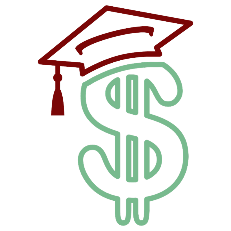 Image of a dollar sign wearing a graduation hat