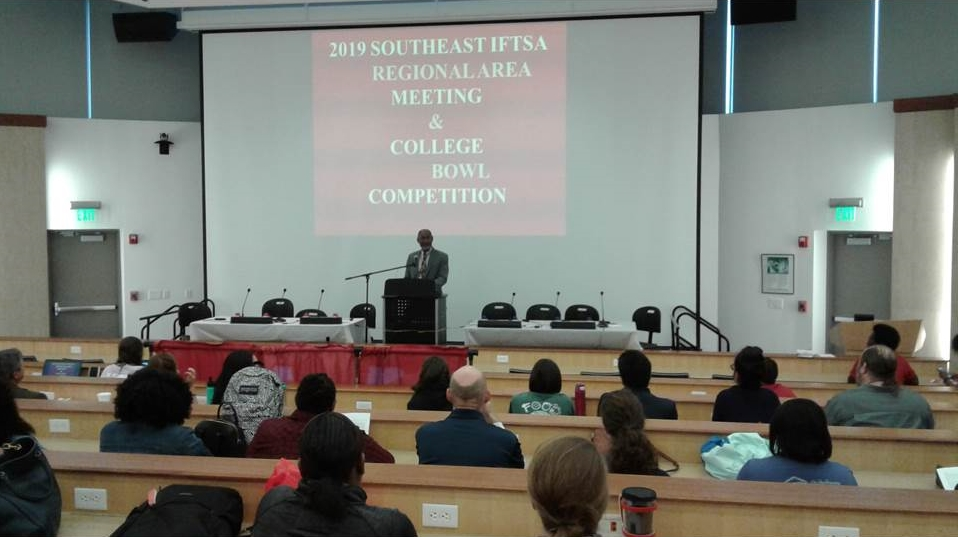 Dr. Walter Hill, Dean, CAENS, welcome Attendees during the 2019 IFTSA SE Regional Meeting & College Bowl, Hosted by the Department, FNS, April 5-6.
