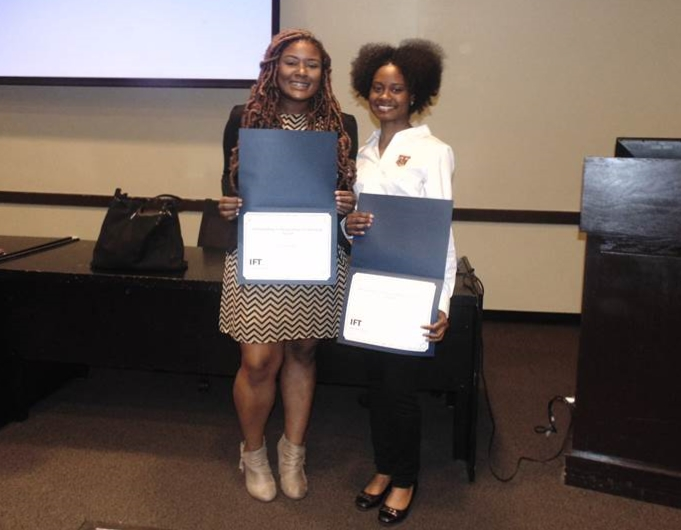 K. Smith and P. Greenwood received Students Leadership Awards during the 2019 SEIFT Spring Meeting, Clemson, SC