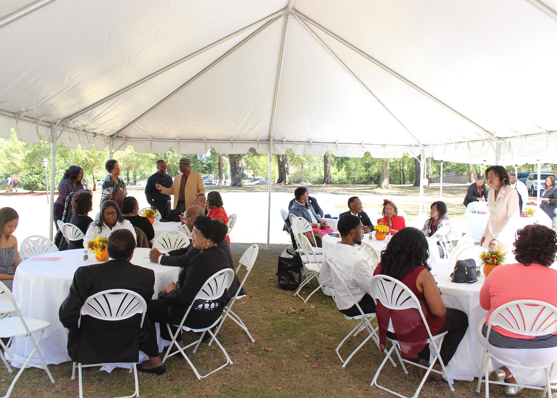 Outdoor under the tent brunch