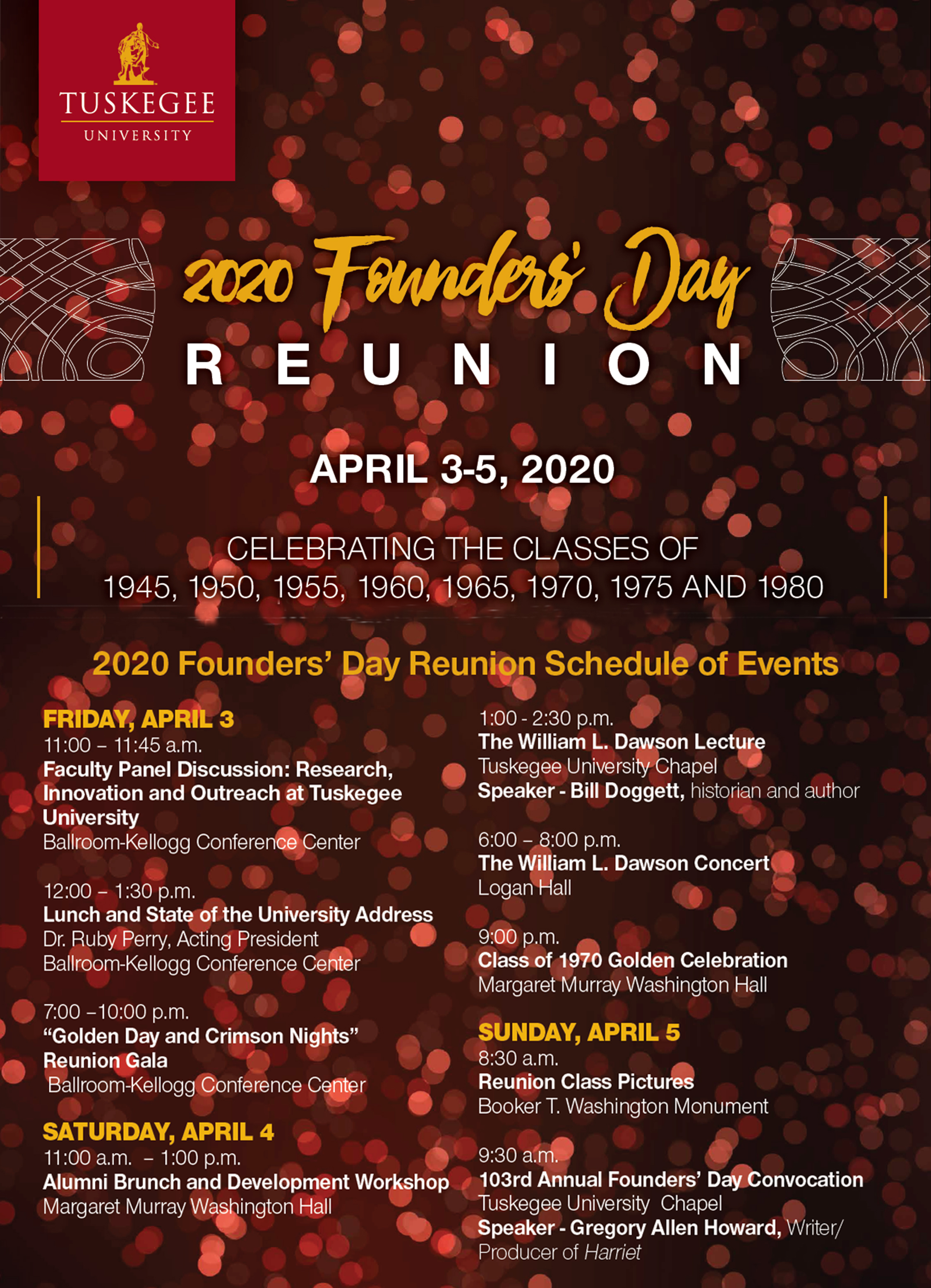2020 Founders Day Reunion schedule