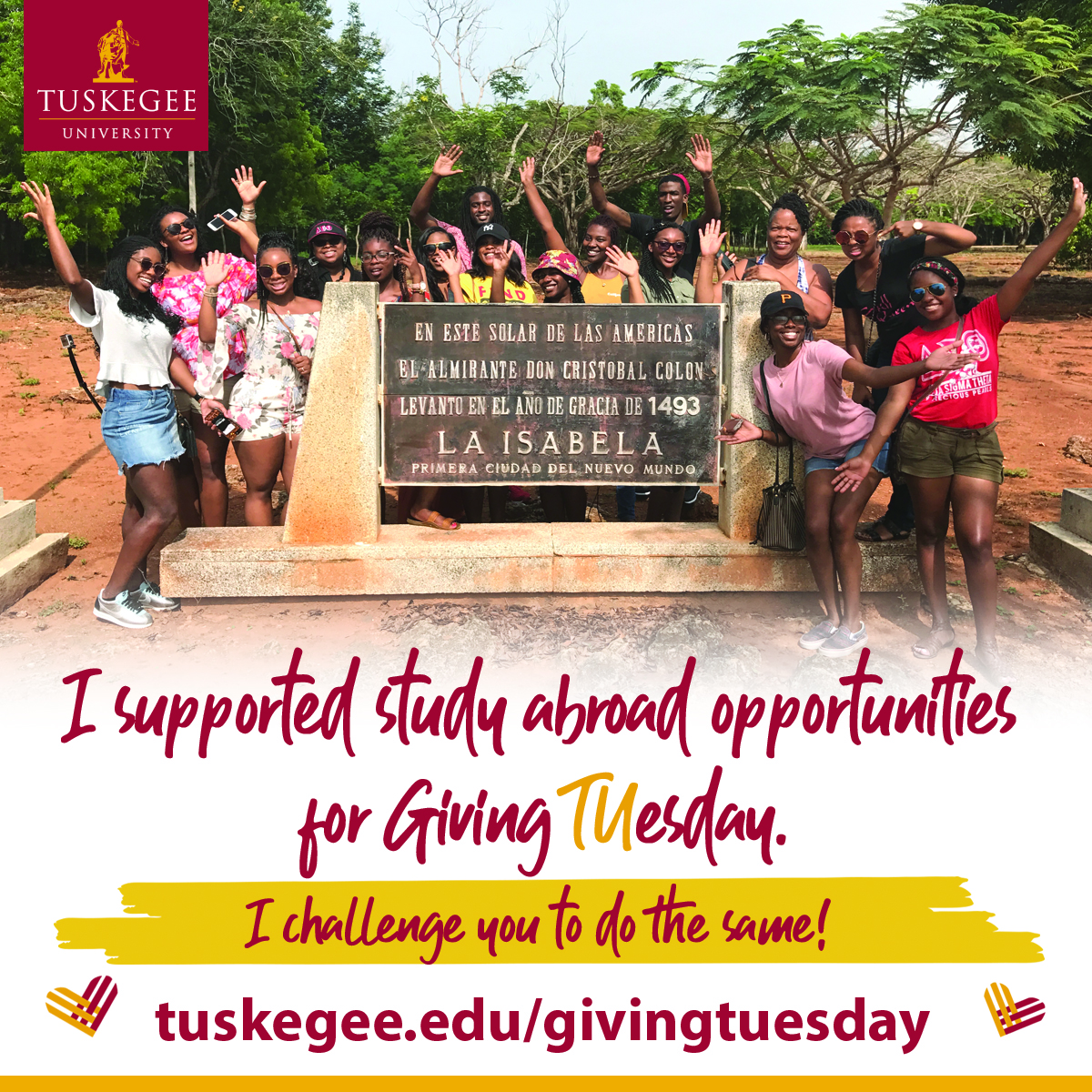 Giving Tuesday study abroad support graphic