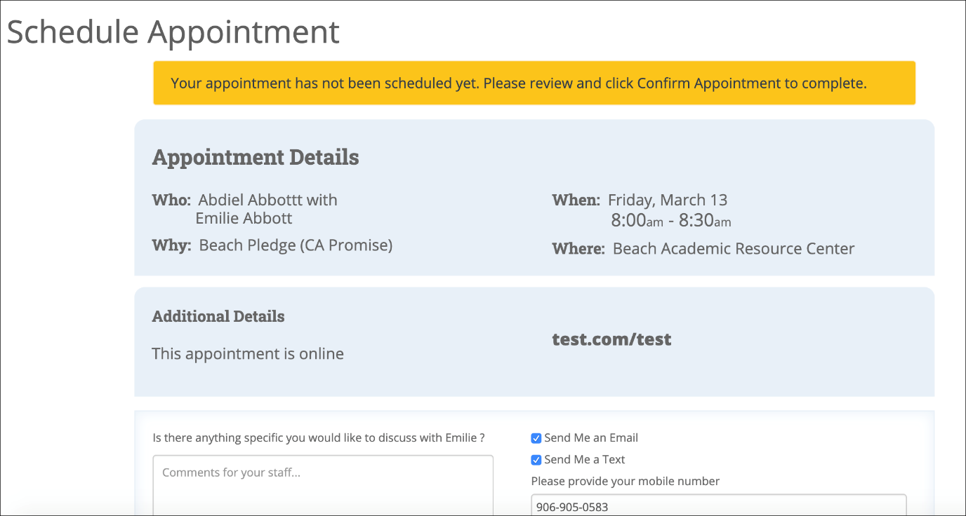 Screenshot - Confirm appointment