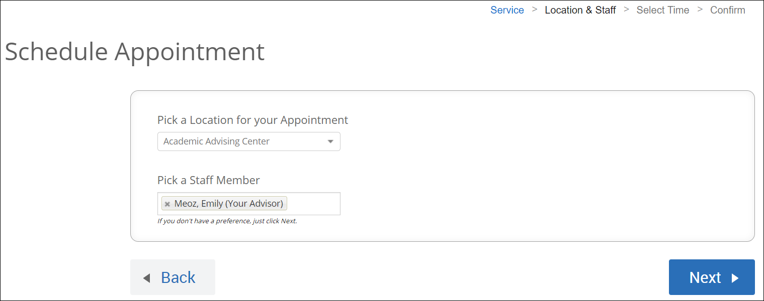 Screenshot - Schedule appointment with Back button