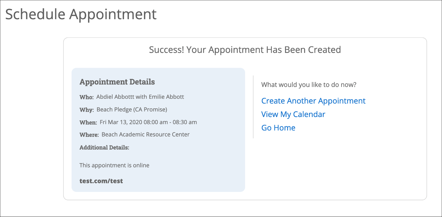 Screenshot - Appointment has been created