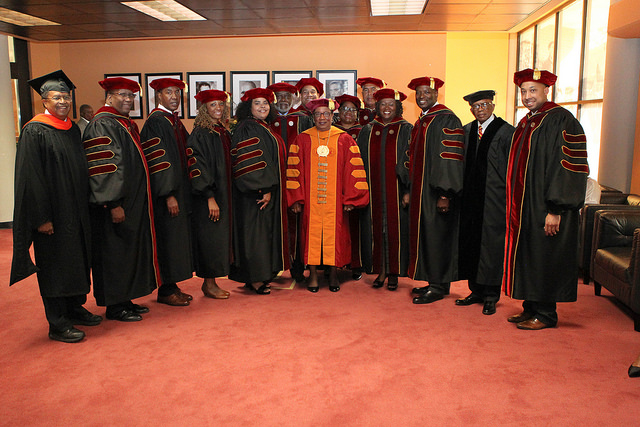 Dr. Charlotte Morris with university trustees and leaders at May 2018 commencement