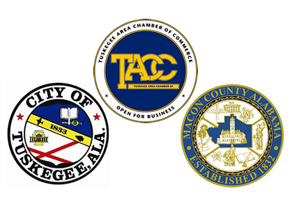 Logos for the Tuskegee Area Chamber of Commerce, City of Tuskegee, and Macon County Alabama