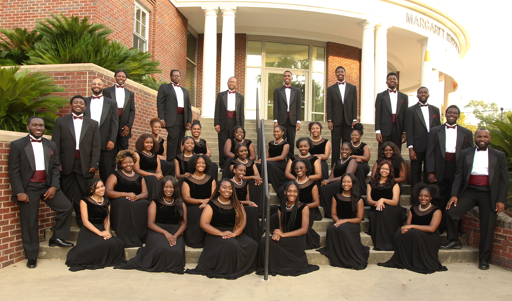 T.U. Golden Voices Concert Choir on the steps of Margaret Murray Washington Hall