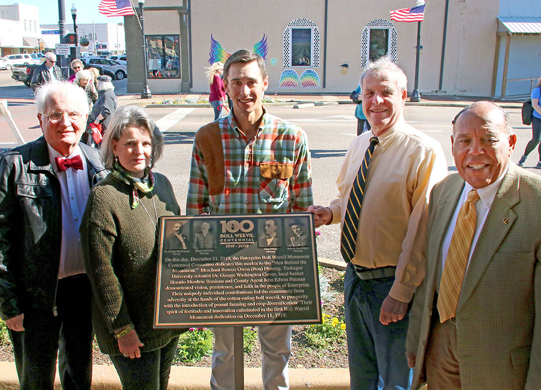 Enterprise's civic and municipal leaders dedicate the Centennial Memorial on Feb. 29; photo courtesy of City of Enterprise