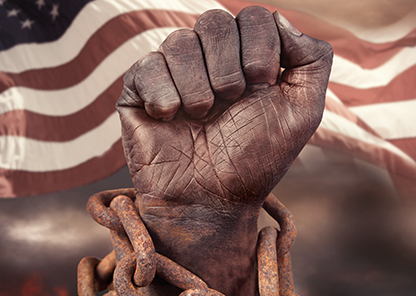 Image of black fist in chains
