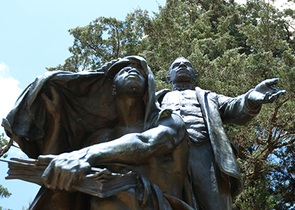 "Booker T. Washington statue - ""Lifting the Veil."""