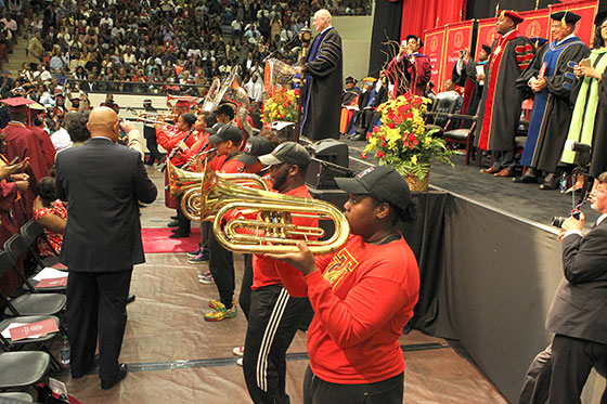 Portion of TU band performs during Commencement