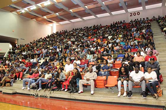 "open House crowds seated in General Daniel ""Chappie"" James Arena"