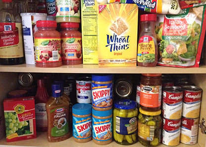 various foods items on shelf