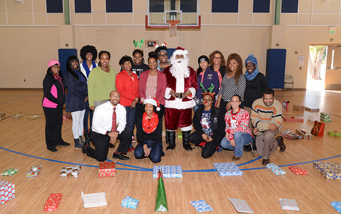 College of Vet Med members pose with Santa Claus