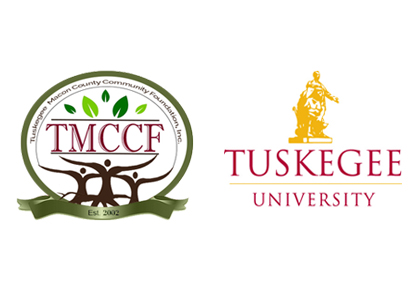 Logo of Tuskegee Macon County Community Foundation and logo of Tuskegee University
