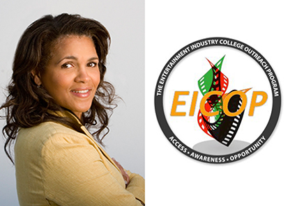 Stacy Milner and the Entertainment Industry College Outreach Program (EICOP) logo