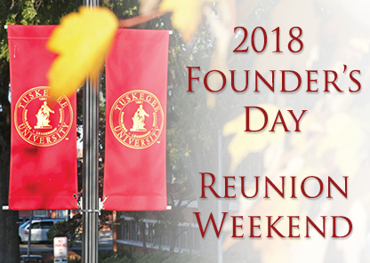 Image of red TU pole banners showing Founders Day weekend text