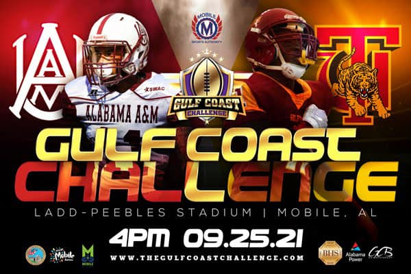 Gulf Coast Challenge football game graphic