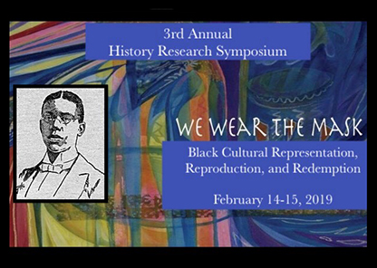graphic used for History symposium containing the theme and a drawing of a man