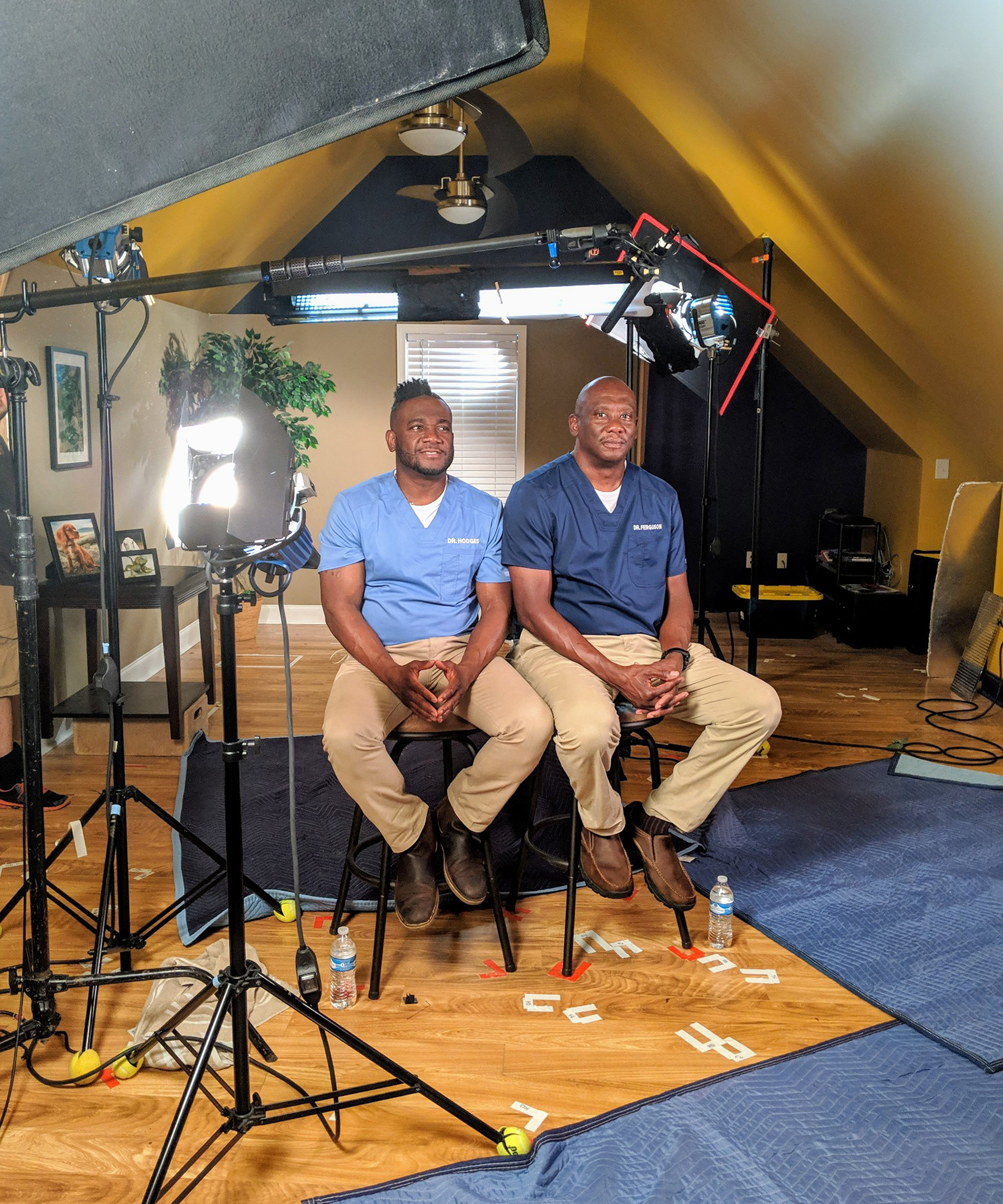 Dr. Vernard Hodges (left) Dr. Terrence Ferguson (right) on set for video production of Critter Fixers