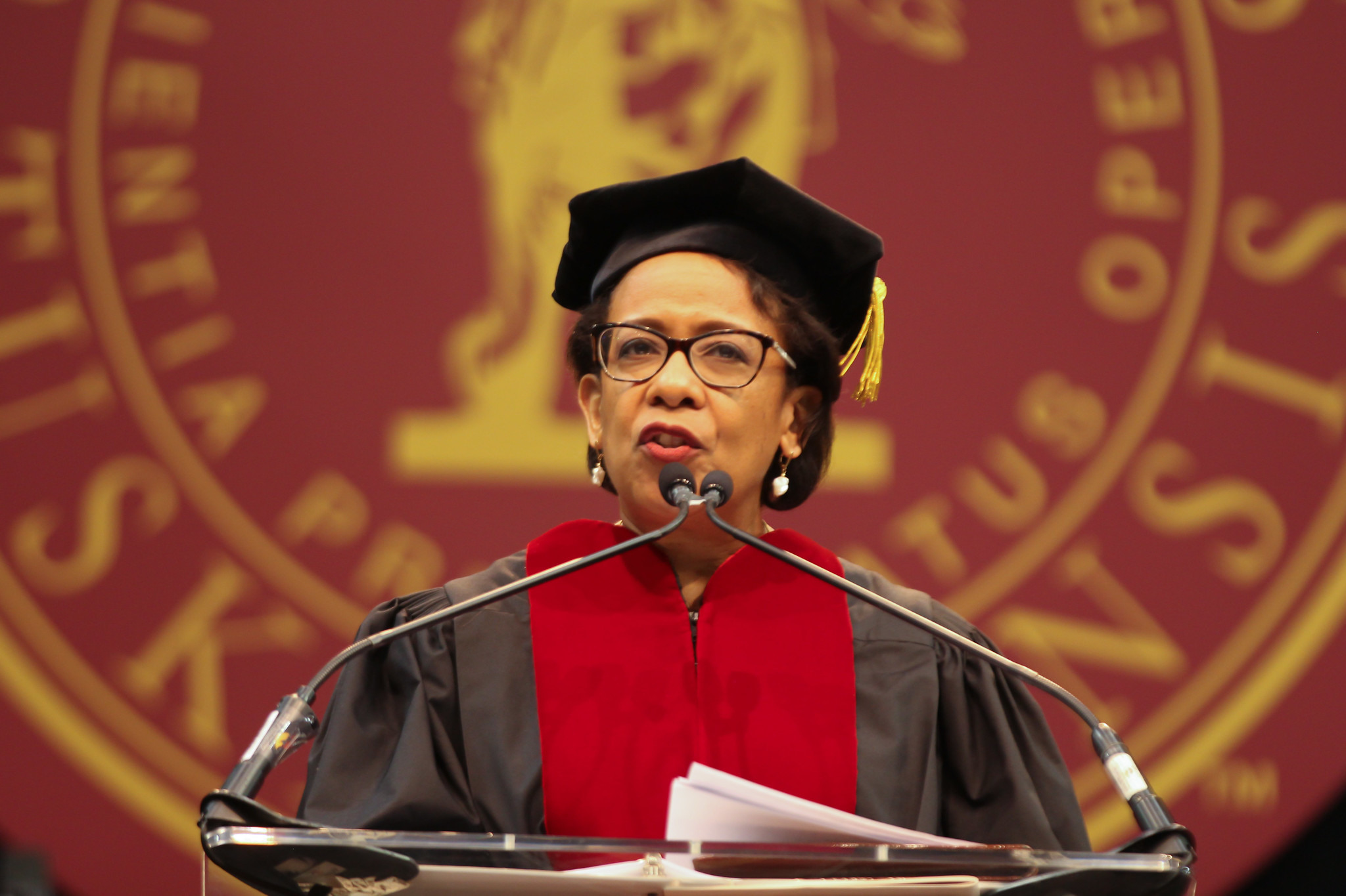 The Honorable Loretta Lynch, J.D. offers remarks to graduates.