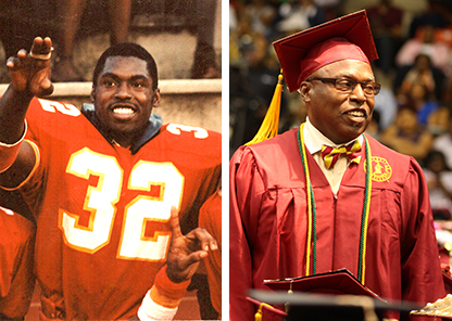 Ken Woodard in football uniform and in graduation gown