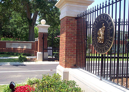 Lincoln Gates, the main gates leading into campus