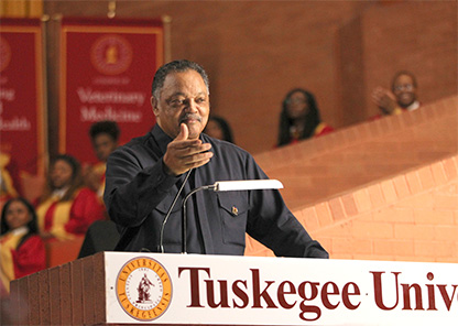 Rev. Jesse Jackson at podium in the Tuskegee University Chapel