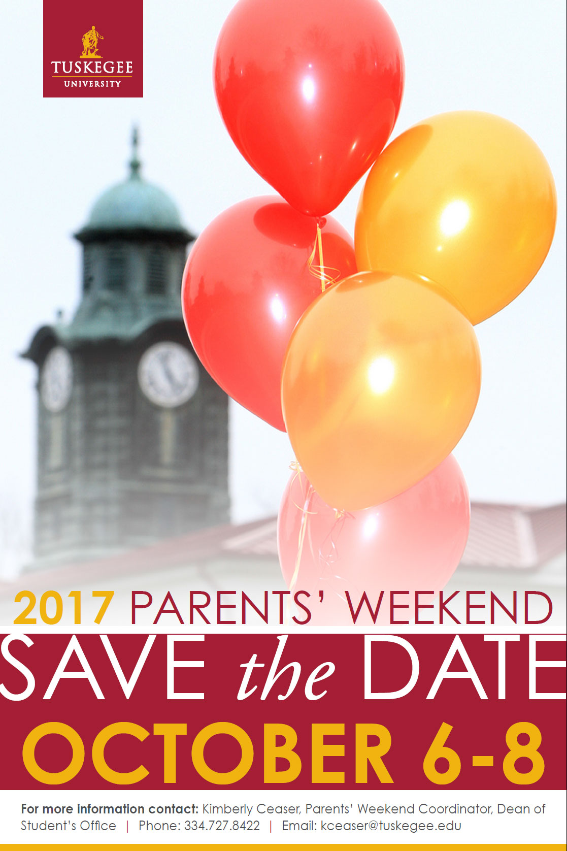 Flyer for Parents Weekend
