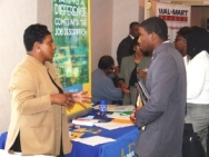 student at career fair